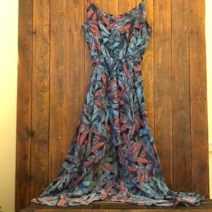 Sans Souci Feathered Pink & Blue High Low Dress